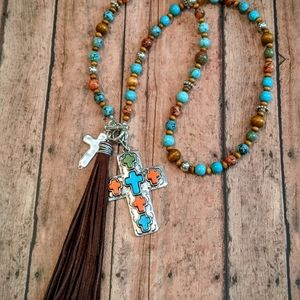 Nwt Handcrafted Beaded Cross Pendant Necklace